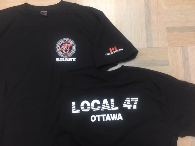 Front of shirt ~ Local 47 crest. Back of shirt ~ Local 47 Ottawa